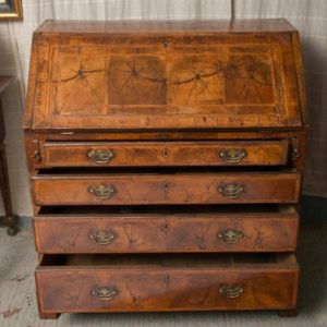 Walnut bureau 18th century Drawers Open